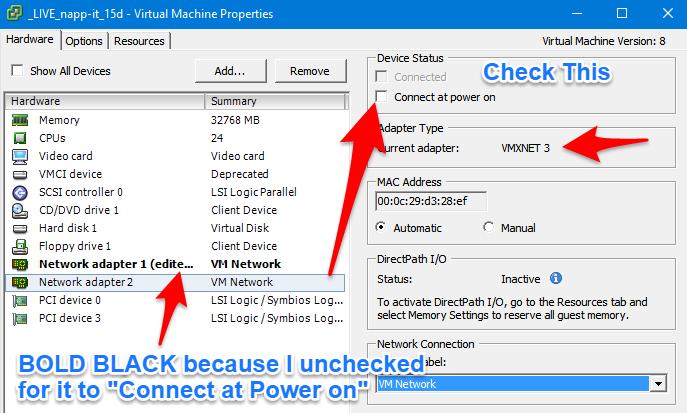 Enable vmxnet3 in ESXI / vSpehere for Napp-IT Omni OS VM